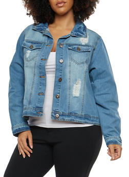 Plus Size Highway Distressed Denim Jacket - 1876071315877
