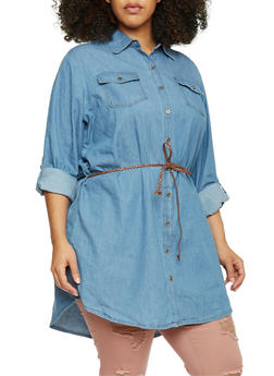 Plus Size Highway Jeans Belted Denim Tunic - 1876071316270