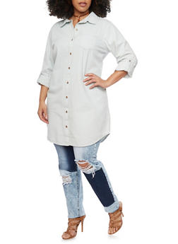Plus Size Highway Jeans Long Sleeve Button Up Tunic Shirt - 1876071316375