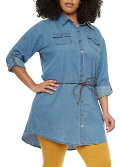 Plus Size Highway Jeans Button Up Denim Tunic Shirt - 1876071317013