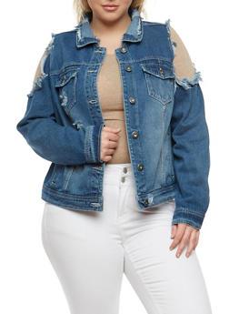 Plus Size Highway Jeans Cold Shoulder Denim Jacket - 1876071317052