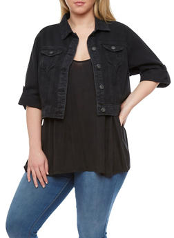 Plus Size Cropped Denim Jacket - 1876071317786