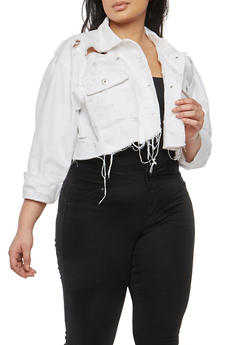 Plus Size Highway Cropped Jean Jacket - 1876071318032