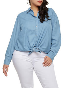 Plus Size Tie Front Denim Shirt - 1876071318041