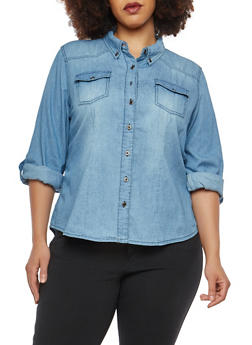 Plus Size Denim Button Front Shirt - 1876071318092
