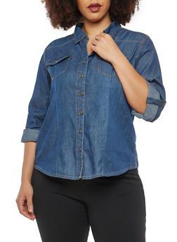 Plus Size Denim Button Front Shirt - 1876071318092
