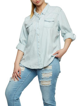 Plus Size Button Front Denim Shirt - 1876071318093
