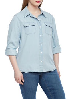 Plus Size Chambray Denim Button Down Shirt with Two Pockets - 1876071318278