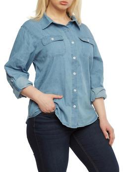 Plus Size Chambray Denim Button Down Shirt with Two Pockets,MEDIUM WASH,medium