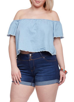 Plus Size Off the Shoulder Frayed Denim Crop Top - 1876071318328