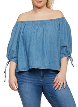 Plus Size Off the Shoulder Denim Top with Tie Sleeves - 1876071318338