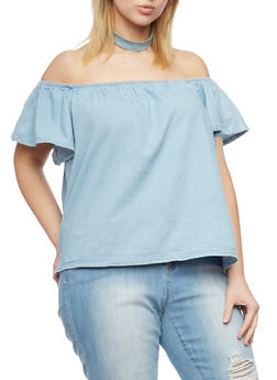 Plus Size Off the Shoulder Denim Top with Flutter Sleeves - 1876071318342