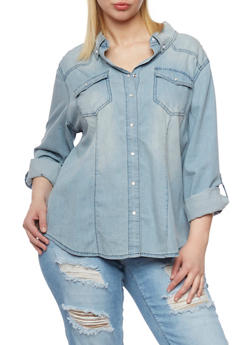 Plus Size Highway Jean Denim Button Front Top with Tabbed Sleeves - 1876071318386
