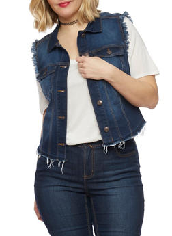 Plus Size WAX Jean High Low Frayed Vest - DARK WASH - 1876071610073