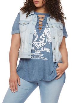 Plus Size Wax Jean Button Up Vest - LIGHT WASH - 1876071619001