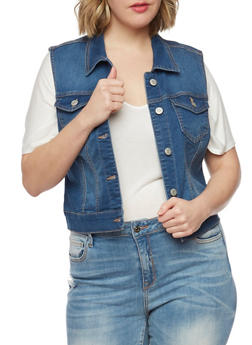 Plus Size Wax Jean Button Up Vest - 1876071619001