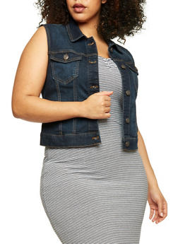 Plus Size Wax Jean Button Up Vest - 1876071619001