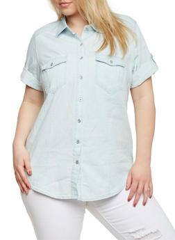 Plus Size Denim Button Front Top with Tabbed Short Sleeves - 1876071619003