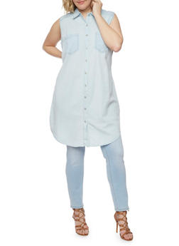 Plus Size WAX Sleeveless Denim Shirt Dress - LIGHT WASH - 1876071619035