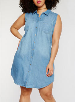 Plus Size WAX Sleeveless Denim Shirt Dress - MEDIUM WASH - 1876071619035