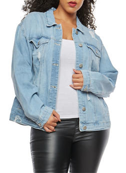 Plus Size WAX Oversized Distressed Denim Jacket - 1876071619091