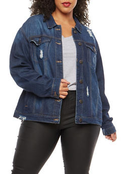 Plus Size WAX Oversized Distressed Denim Jacket - 1876071619091