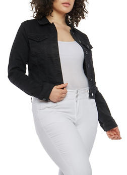 Plus Size WAX Black Jean Jacket - 1876071619117