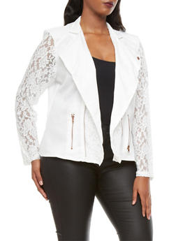 Plus Size Zip Front Moto Style Knit Jacket With Lace Accents - IVORY - 1886009423252