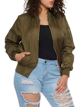 Plus Size Lined Zip Front Bomber Jacket - OLIVE - 1886038348050