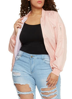 Plus Size Lined Zip Front Bomber Jacket - 1886038348050