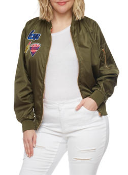 Plus Size Lined Bomber Jacket with Patches - 1886038348052
