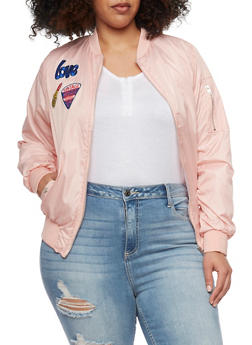 Plus Size Lined Bomber Jacket with Patches - BLUSH - 1886038348052