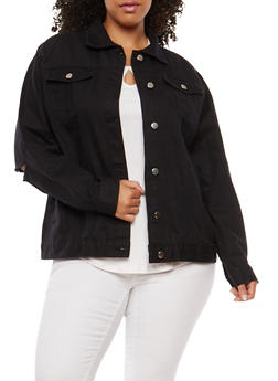 Plus Size Distressed Elbow Denim Jacket - BLACK - 1886038348089