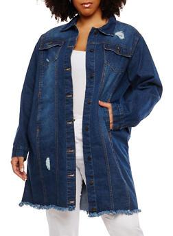 Plus Size Long Frayed Denim Jacket - 1886038348098