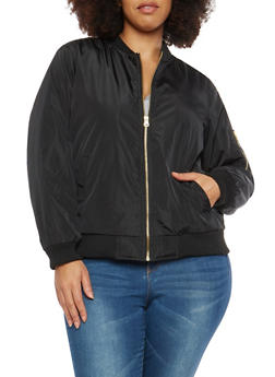 Plus Size Black Flight Jacket - 1886051061045