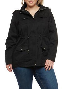 Plus Size Twill Hooded Anorak Jacket - 1886051061109
