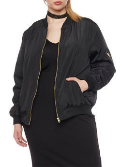 Plus Size Bomber Jacket with Quilted Lining - 1886051062510