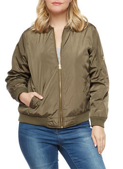 Plus Size Olive Bomber Jacket - 1886051063048