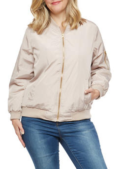 Plus Size Mauve Bomber Jacket - 1886051063148