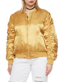 Plus Size Zip Up Satin Bomber Jacket - 1886051064596