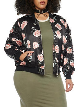 Plus Size Floral Zip Up Satin Bomber Jacket - 1886051064597