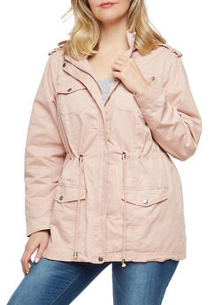 Plus Size Hooded Twill Anorak Jacket - 1886051064600