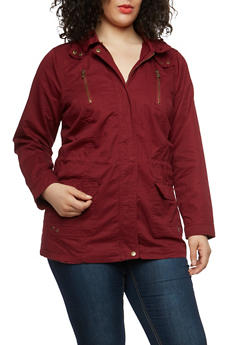 Plus Size Twill Hooded Anorak Jacket - 1886051064962