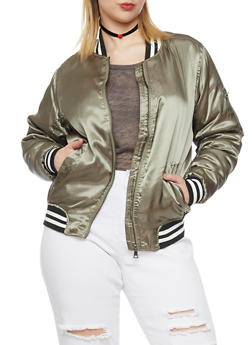 Plus Size Satin Bomber Jacket with Striped Trim - OLIVE - 1886051065314