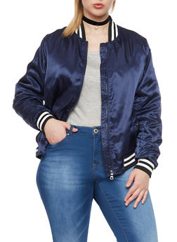 Plus Size Satin Bomber Jacket with Striped Trim - 1886051065314