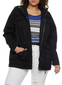 Plus Size Hooded Anorak Jacket with Drawstring Waist - 1886051065433