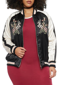 Plus Size Satin Floral Embroidery Bomber Jacket - 1886051065450