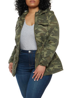 Plus Size Hooded Camo Anorak Jacket - 1886051065764