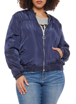 Plus Size Ruched Zip Up Bomber Jacket - 1886051066256
