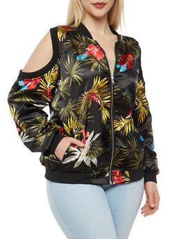 Plus Size Floral Cold Shoulder Bomber Jacket - 1886051066295